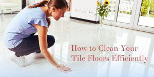 woman in blue top touching tile floor